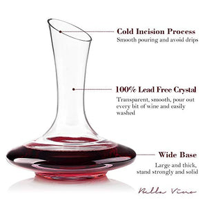 100% Lead-Free Hand Blown Crystal Glass Wine Decanters - EK CHIC HOME