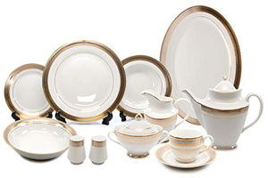 Royalty Porcelain Silver and Gold 49-pc Dinnerware Set 'Damascus', Premium Bone China - EK CHIC HOME