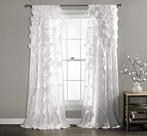 "Sheer Ruffled Textured Bow Window Panel for Living, Dining Room, Bedroom (Single) 84"" x 54"" - EK CHIC HOME"