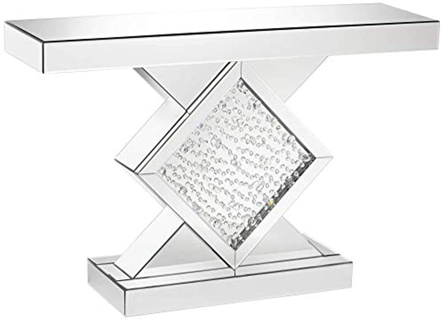 luxury 46 1 2 wide silver mirror crystal console table