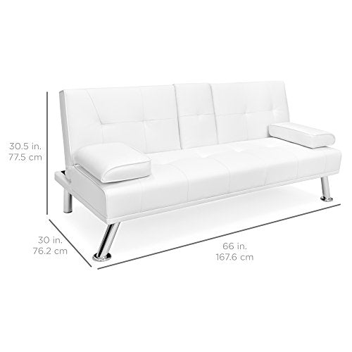 Modern Leather Convertible Folding Futon Sofa Bed Recliner Couch w/Metal  Legs