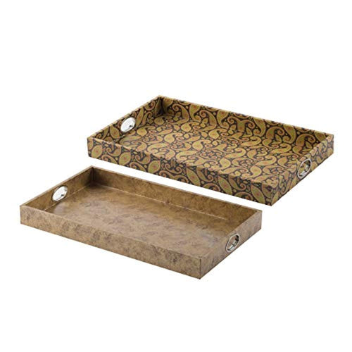 Multi-Colored Decorative,Tray, Set of 2, - EK CHIC HOME