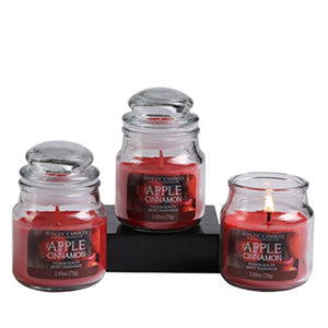 Set of 3 Apple Cinnamon Highly Scented, 2.65 Oz Wax, Jar Candle. - EK CHIC HOME