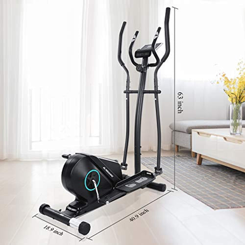 Portable Elliptical Exercise Machine Magnetic Elliptical Trainer with Flywheel & Extra-Large Pedal & LCD Monitor