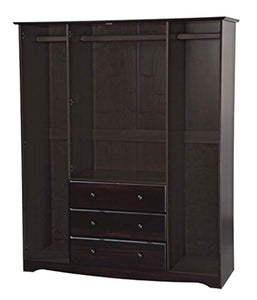 "Solid Wood Family Wardrobe/Armoire/Closet 60"" W x 72"" H x 21"" D. 3 Clothing Rods Included - EK CHIC HOME"