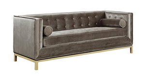 Iconic Elegant Tufted Velvet Plush Taupe - EK CHIC HOME