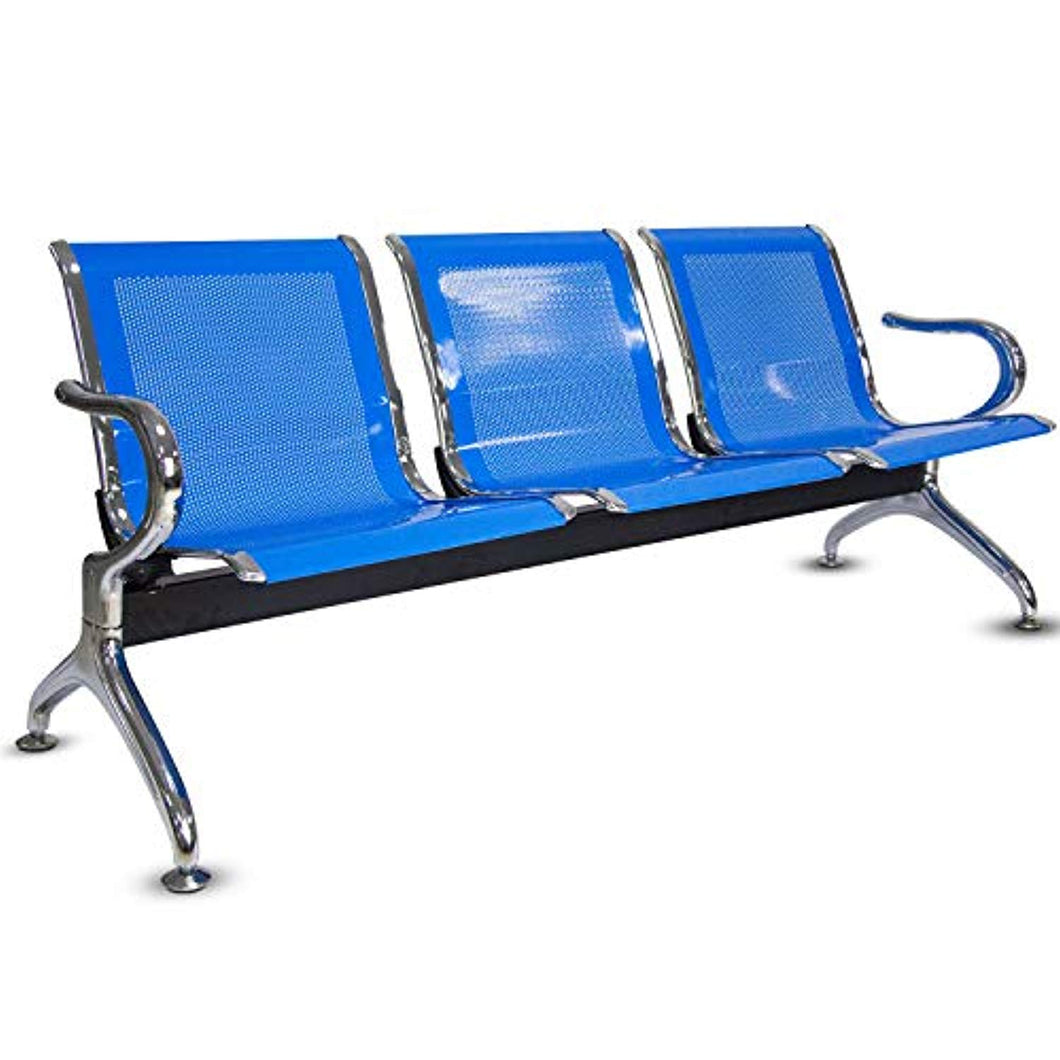 Airport Office Reception Waiting Area Bench Guest Chair Room Salon Barber Bench (Blue, 3-Seat) - EK CHIC HOME