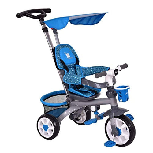 4 in 1 Twins Kids Trike Safety Double Rotatable Seat w/Basket (Blue)