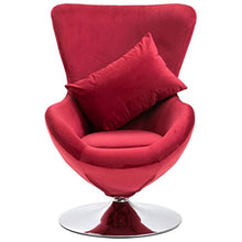Load image into Gallery viewer, Swivel Egg Chair with Cushion Velvet French Armchair Red