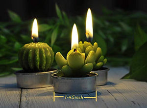 6PCS Cactus Tealight Candles, Decorative Delicate Succulent Handmade Cute Mini Plants Candles - EK CHIC HOME