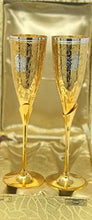 "Load image into Gallery viewer, Set of 2 Silver & Gold Plated Brass Champagne Flutes (9.5""x 2.5"")"
