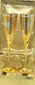 "Set of 2 Silver & Gold Plated Brass Champagne Flutes (9.5""x 2.5"")"