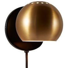 "Load image into Gallery viewer, Gold Metal Plug-In Wall Sconce Light, 7""H, Gold Metal - EK CHIC HOME"