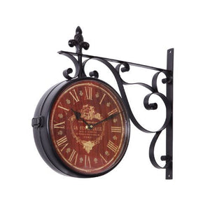 Iron Red Face Roman Numerals with Scroll Wall Mount Round Wall Clock - EK CHIC HOME