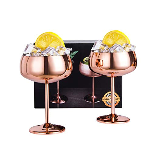 Copper Coupe Champagne Glasses Set of 2 Stainless Steel - EK CHIC HOME
