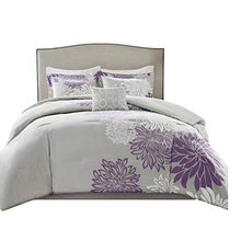 Load image into Gallery viewer, 5 Piece Purple, Grey Floral Printed Full/Queen Size - EK CHIC HOME