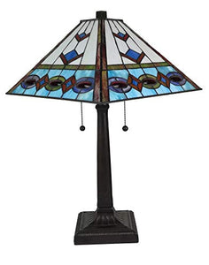Tiffany Style Multi-Color Mission Table Lamp 22 Inches Tall - EK CHIC HOME