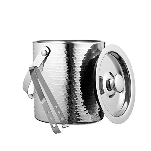 Hammered Ice Bucket - Double Wall Ice Bucket 2.5 Quarts - EK CHIC HOME