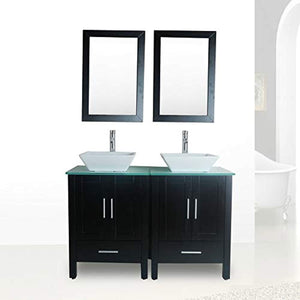 "48"" Double Sink Bathroom Vanity Combo Glass Top Black Paint Cabinet w/Mirror Faucet and Drain set - EK CHIC HOME"