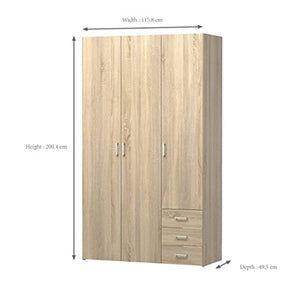 CHIC 3 Drawer & 3 Door Wardrobe Oak Structure - EK CHIC HOME