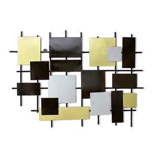 Extra Large 40 inch Metal Squares Wall Sculpture - EK CHIC HOME