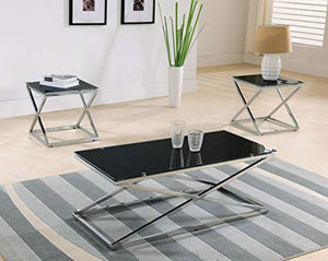 Coylin Glass Cocktail Coffee Table & 2 End Tables (Set of 3), Chrome - EK CHIC HOME