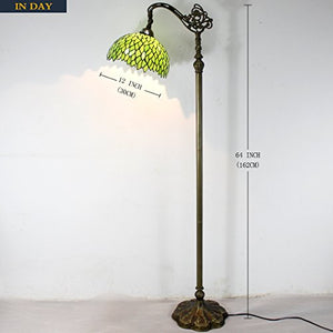 Tiffany Reading Floor Lamp Green Wisteria Arched Stained Glass Lamp - EK CHIC HOME