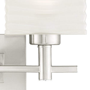 Two-Light Indoor Wall Fixture, Brushed Nickel Finish with Rippled White Glazed Glass - EK CHIC HOME