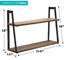 Load image into Gallery viewer, Sorbus 2-Tier Wooden Floating Shelf with Metal Brackets — Wall Mounted Rustic - EK CHIC HOME