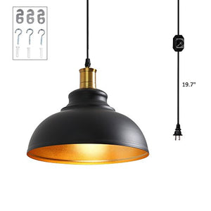 1-Light Plug in Pendant Light with Dimmer Switch in Line - EK CHIC HOME