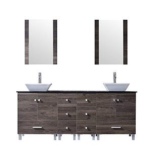 "72"" Double Wood Bathroom Vanity Cabinet and Square Ceramic Vessel Sink w/Mirror Faucet Combo - EK CHIC HOME"