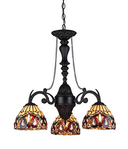 "Serenity Tiffany-Style Victorian 3-Light Mini Chandelier, 25.8 x 20.5 x 20.5"", Bronze - EK CHIC HOME"