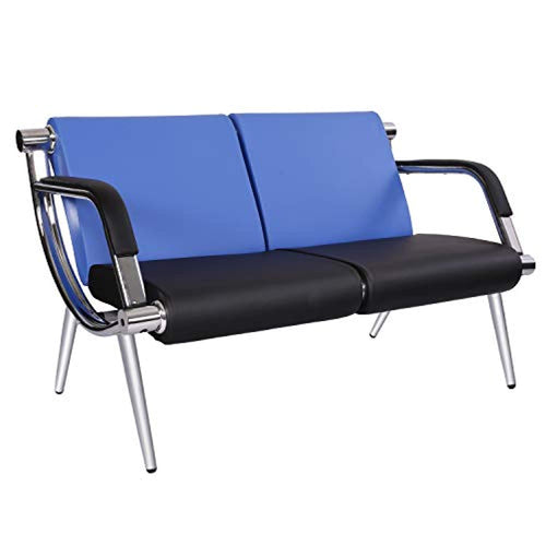 Office Reception Chair 2-Seat Waiting Room Bench Visitor Guest Sofa for Airport Market Bank Salon, Blue - EK CHIC HOME