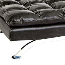 Load image into Gallery viewer, Geneva Faux-Leather Futon Couch with Stainless-Steel Legs, Charcoal Black - EK CHIC HOME