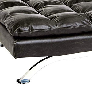 Geneva Faux-Leather Futon Couch with Stainless-Steel Legs, Charcoal Black - EK CHIC HOME