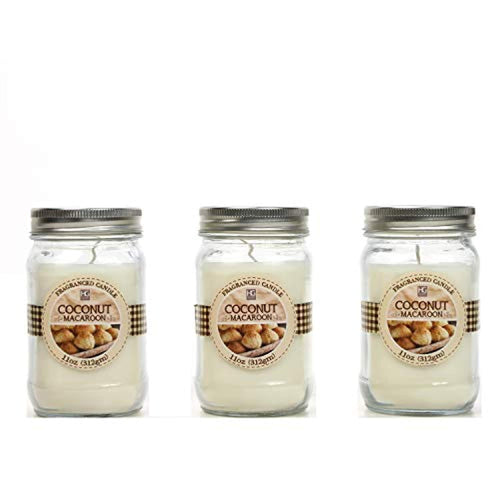 Set of 3, Coconut Macaroon Scented Mason Jar Candles 11 oz Each - EK CHIC HOME