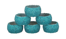 Load image into Gallery viewer, Handmade Beaded Napkin Rings Set 12 Turquoise Glass Beaded Napkin Holders - EK CHIC HOME