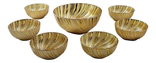 7 Piece Soup Salad and Desert Glass Bowl Set Gold Swirl - EK CHIC HOME