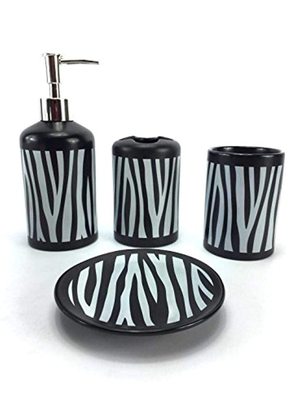 4 Piece Ceramic Bath Accessory Set - EK CHIC HOME