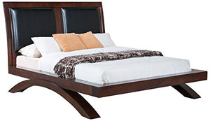 Cardinal Platform Bed with Upholstered Headboard, Queen, Savory Espresso - EK CHIC HOME