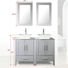 "Load image into Gallery viewer, 48"" Double Sink Bathroom Vanity Cabinet Combo Glass Top Grey Paint MDF Wood w/Faucet, Mirror&Drain set - EK CHIC HOME"