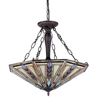 Load image into Gallery viewer, Moasic Tiffany-style Mission 3 Light Inverted Ceiling Pendant Fixture 25-Inch Shade - EK CHIC HOME