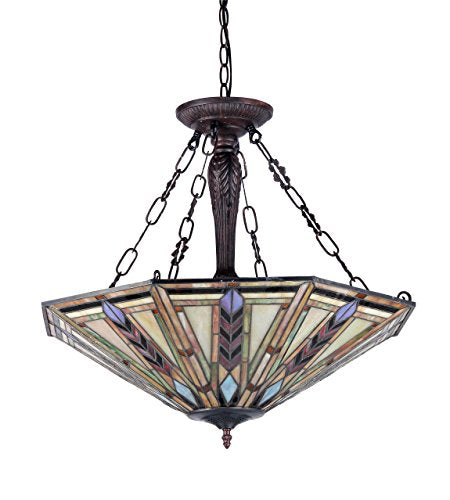 Moasic Tiffany-style Mission 3 Light Inverted Ceiling Pendant Fixture 25-Inch Shade - EK CHIC HOME