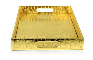 "Elegant Gold 18""x12"" Rectangle Glossy Alligator Serving Tray - EK CHIC HOME"