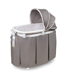 Oval Rocking Baby Bassinet with Bedding, Storage, and Pad - EK CHIC HOME