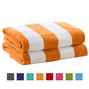 4 Pack Plush Velour 100% Cotton Beach Towels. Cabana Stripe - EK CHIC HOME