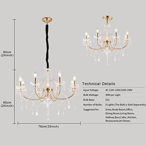 Crystal Chandeliers Light Hanging Adjustable Height and Hand-polished Crystal Beads 9 Lights, Golden - EK CHIC HOME