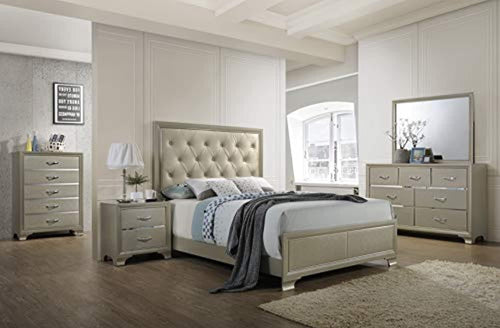 6 Piece Bedroom Set, King, Champagne Wood, Contemporary