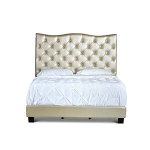 Mariana Tufted Upholstered Bed by Queen Gold Acacia, Oak - EK CHIC HOME
