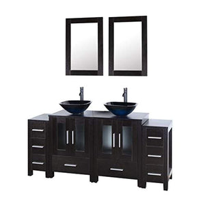 "72"" Black Bathroom Vanity and Sink Combo Double Top MDF Wood Cabinet w/Mirror Faucet and Drain - EK CHIC HOME"